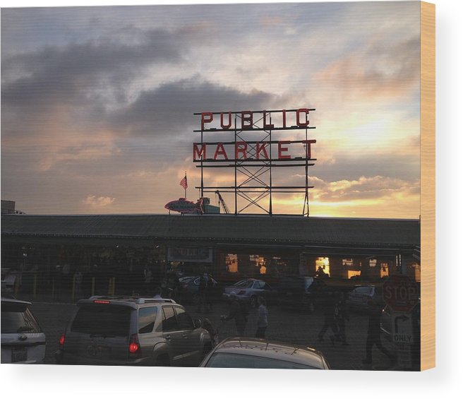 Seattle Wood Print featuring the photograph Sunset At Market by Monica Salyer
