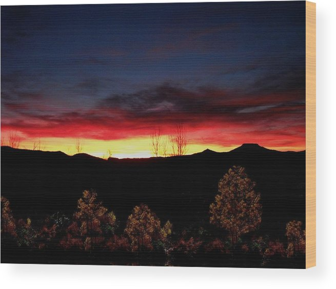Sky Wood Print featuring the photograph Sunset Forest Blue by Alfredo Martinez