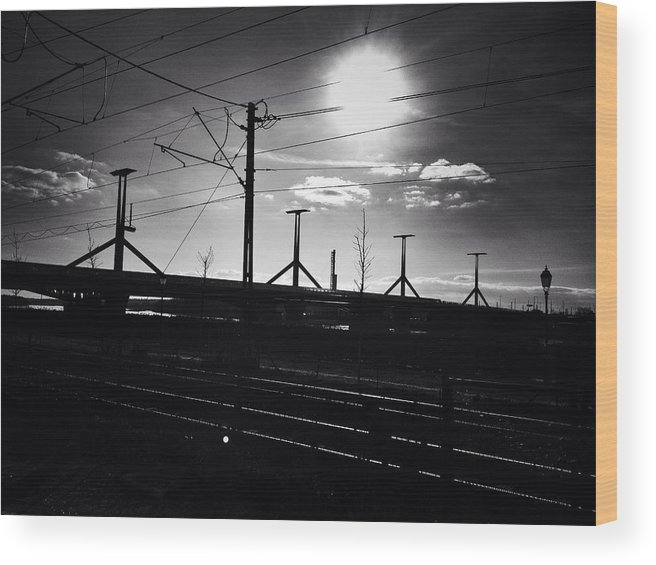 Sunset Wood Print featuring the photograph Sunset Over The Bridge by Jozsef Torsan