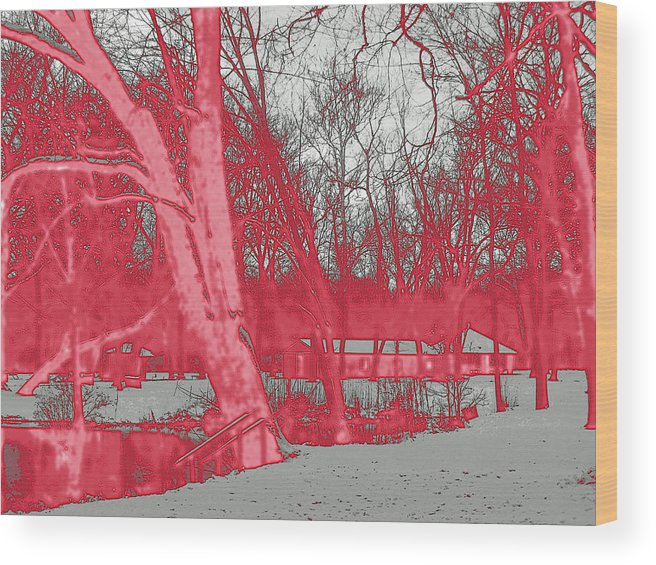 Snow Wood Print featuring the digital art Surreal Red Winter by Joseph Wiegand