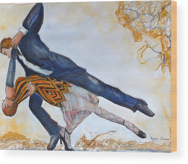 Dance Wood Print featuring the painting Tango by Myra Evans
