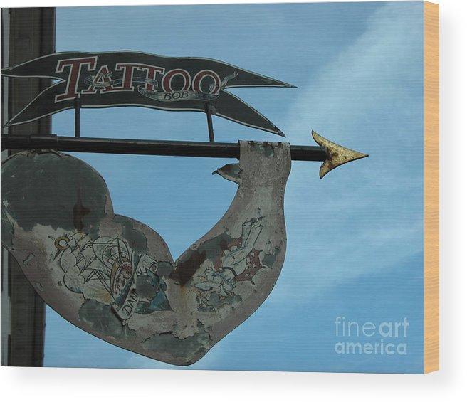 Tattoo Wood Print featuring the photograph Tattoo Bob by Jim Goodman