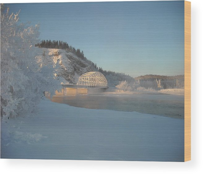 Delta Junction Wood Print featuring the photograph The Bridge At Big Delta 2 by Cathy Mahnke