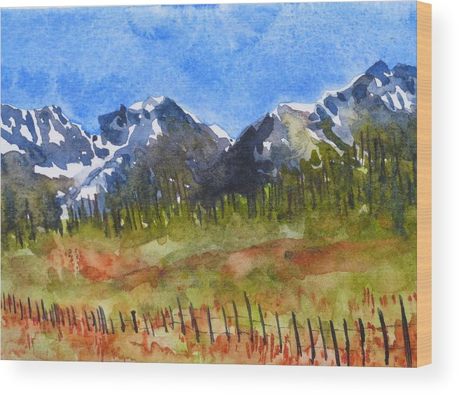 Colorado. Colorado Landscape Painting Wood Print featuring the painting The Bright And Cheery Way by Alina Foley