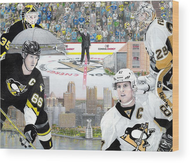 Pittsburgh Penguins Wood Print featuring the painting The Changing Of The Guard by Albert Puskaric