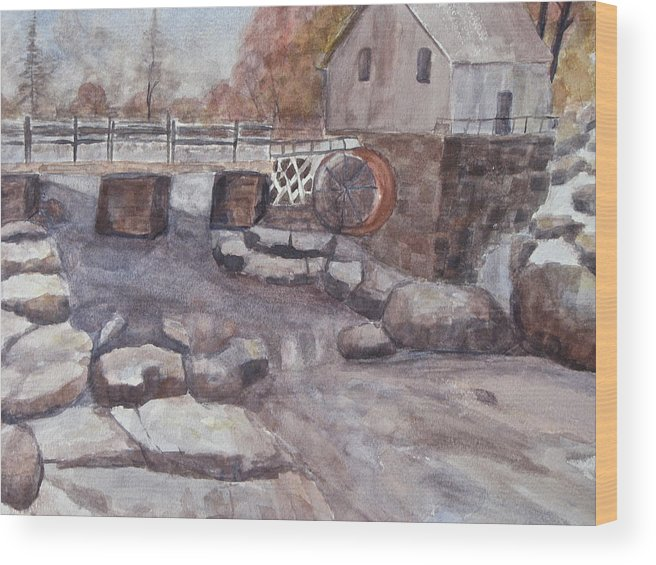 Mill Wood Print featuring the painting The Flour Mill by Iris Nazario Dziadul