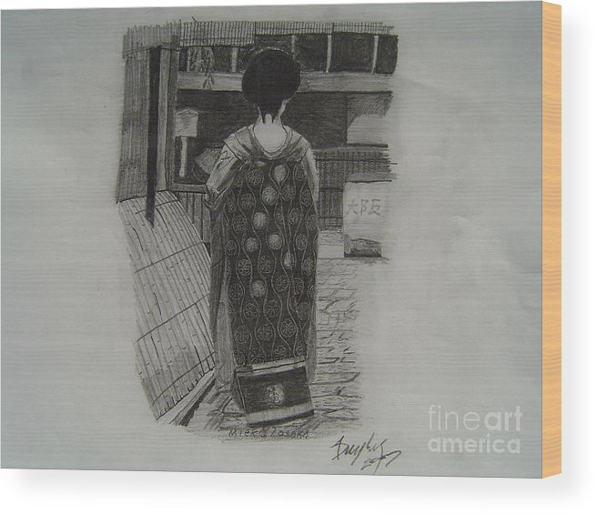 Geisha Wood Print featuring the drawing The Geisha by Anthony Dunphy