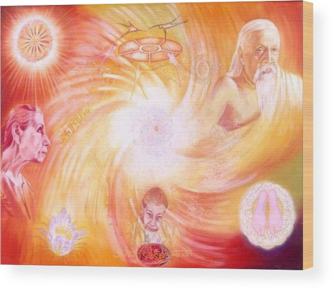 Auroville Wood Print featuring the painting The Golden Dream by Shiva Vangara