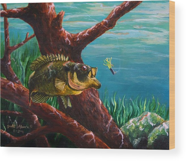 Fish Wood Print featuring the painting The Hit   Warmouth by Scott Alcorn