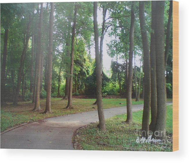 Woods Wood Print featuring the painting The Path To The Right Direction by Bobbi Groves