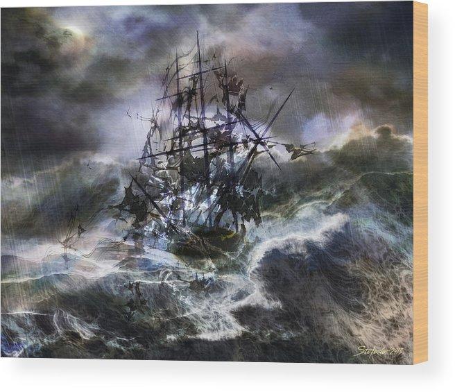 Art Wood Print featuring the digital art The Rage Of Poseidon IIi by Stefano Popovski