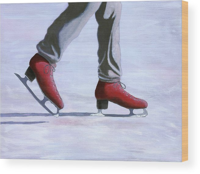 Red Wood Print featuring the painting The Red Ice Skates by Karyn Robinson