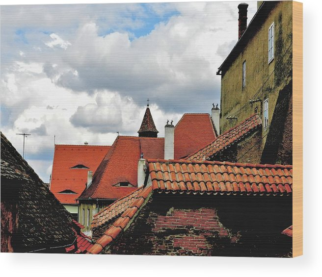 Art Wood Print featuring the painting The Roofs Of Sibiu In Transylvania by Ion vincent DAnu