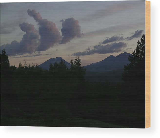 Clouds Wood Print featuring the painting The Three Clouds by Jennifer Lake