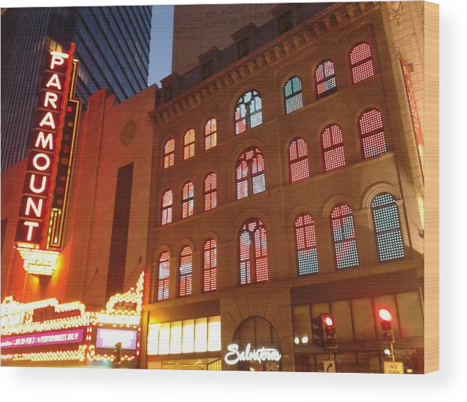 Lights Wood Print featuring the photograph Theater District by Rebecca L Palay