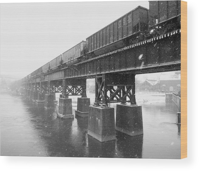 Train Wood Print featuring the photograph Train On A Trestle by Gordon Cain