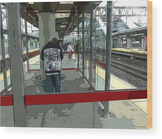 Train Wood Print featuring the photograph Train-waiting by David Leiman
