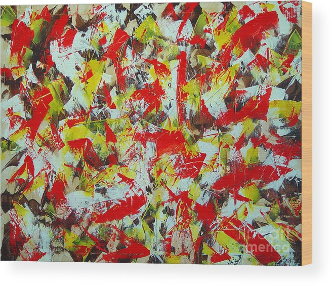 Abstract Wood Print featuring the painting Transitions With Yellow Brown And Red by Dean Triolo