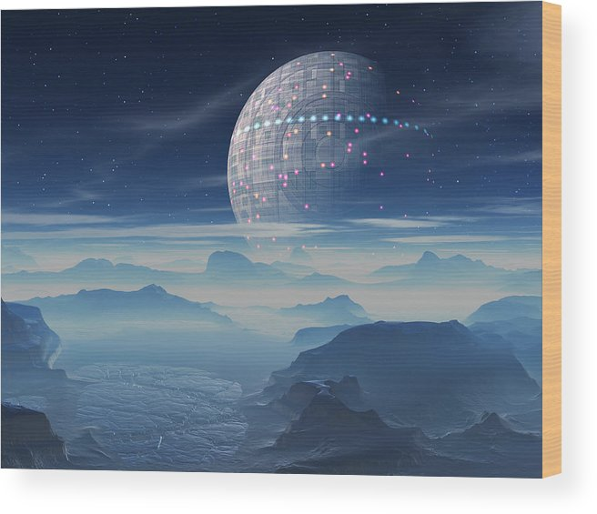 Tranus Alien Planet With Satellite Wood Print