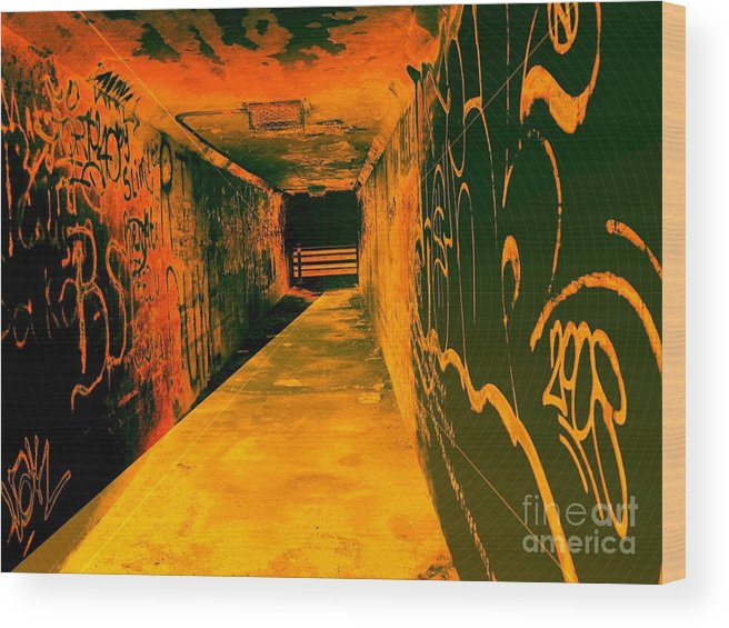 Tunnel Wood Print featuring the photograph Under The Bridge by Ze DaLuz