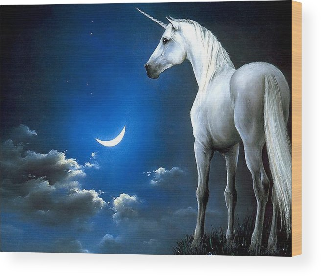 Sky Wood Print featuring the painting Unicorn Pegasu by Hao Chen