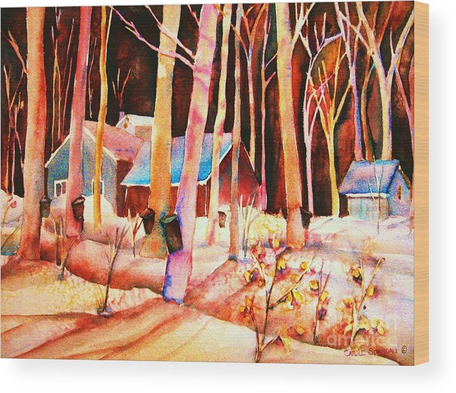 Montreal Wood Print featuring the painting Vermont Maple Syrup by Carole Spandau