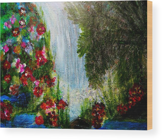 Abstrac Acrylic Prints Wood Print featuring the painting Waterfall by Suzanne Thomas