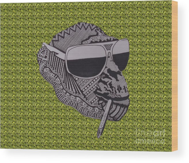 Chimp Wood Print featuring the drawing Whatssup Dawg Green by Karen Larter