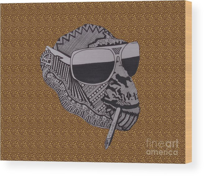 Chimp Wood Print featuring the drawing Whatssup Dawg Leopard by Karen Larter