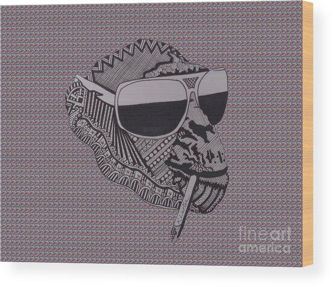 Chimp Wood Print featuring the drawing Whatssup Dawg Tartan by Karen Larter