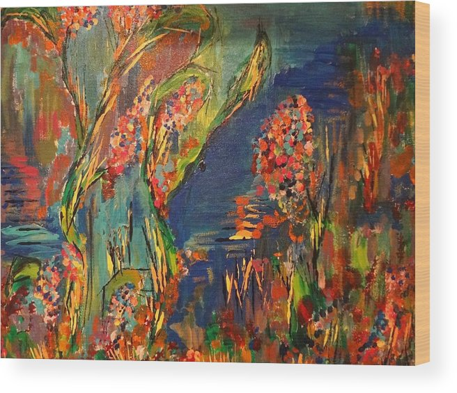 Landscape Wood Print featuring the painting Wild Flowers by Stephen Rosati