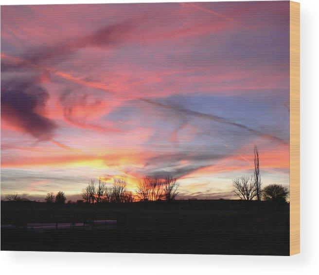 Texas Wood Print featuring the photograph Winters' Sunset Rainbow by Cheryl Damschen