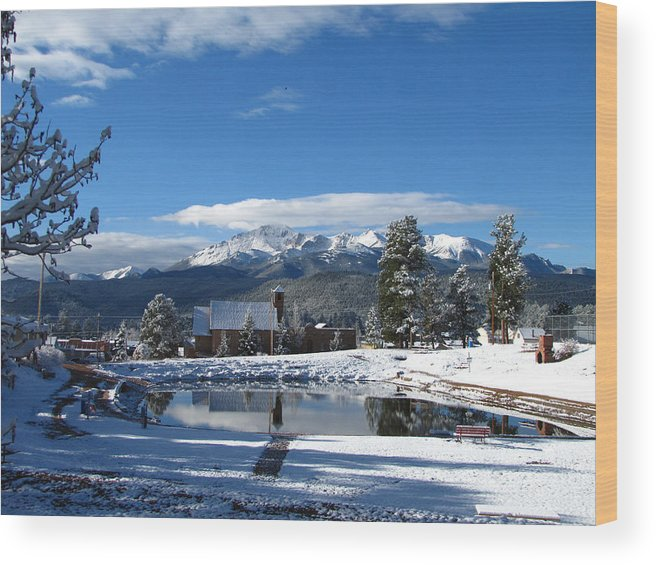 Pikes Peak Wood Print featuring the photograph Woodland Parks Pikes Peak by Carol Milisen