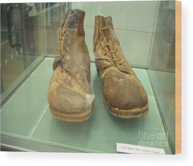 Amazing Wood Print featuring the photograph World War One Boots by Fergus Mitchell