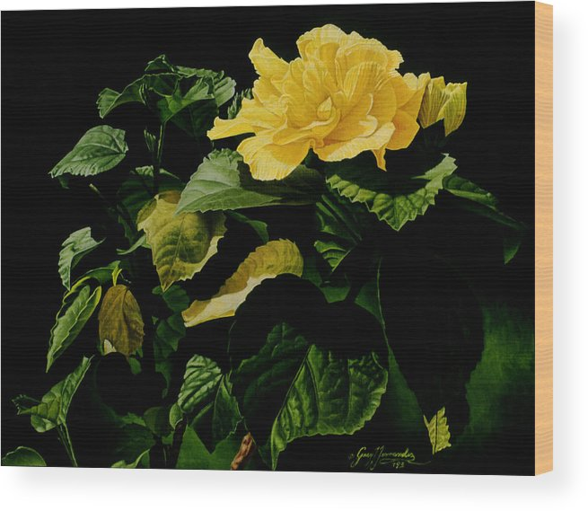 Floral Wood Print featuring the painting Yellow Hibiscus by Gary Hernandez