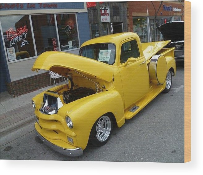 Classic 50 Car Show Wood Print featuring the photograph Yellow Truck by Lingfai Leung