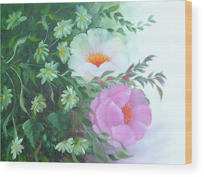 Flower Wood Print featuring the painting Flowers by Renate Behr