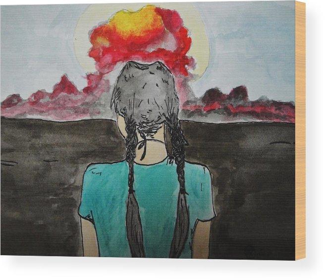Hiroshima Wood Print featuring the painting Hiroshima by Kiana Gonzalez