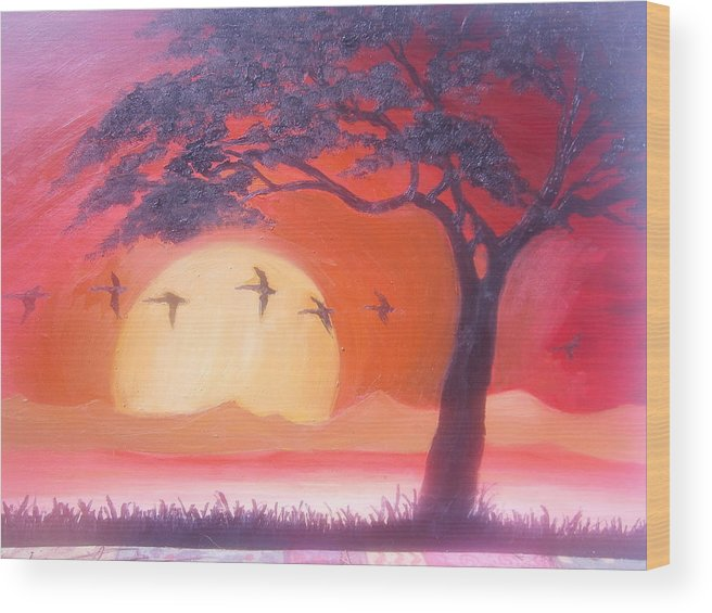 Sunset Sunrise Wood Print featuring the painting Peaceful Sunset by Bj A
