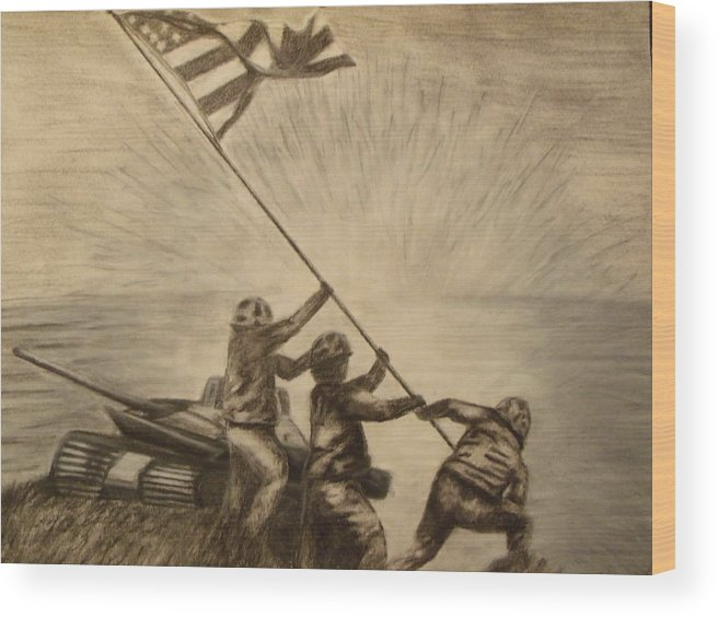War Wood Print featuring the drawing Raising The Flag Of Victory by Ginny Lei