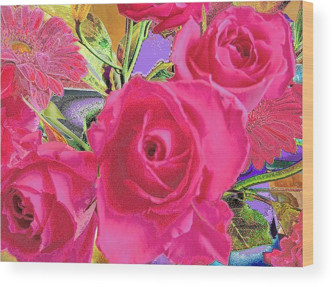 Rose Wood Print featuring the photograph Love Roses by Ruth Edward Anderson