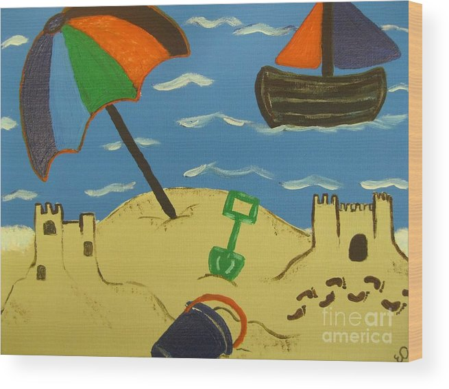 Sun Wood Print featuring the painting A Day At The Beach by Eva Dunham