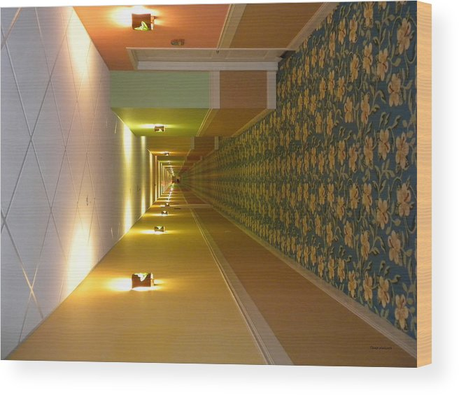 Hallway Wood Print featuring the photograph A Long Hallway Flipped Sideways by Thomas Woolworth