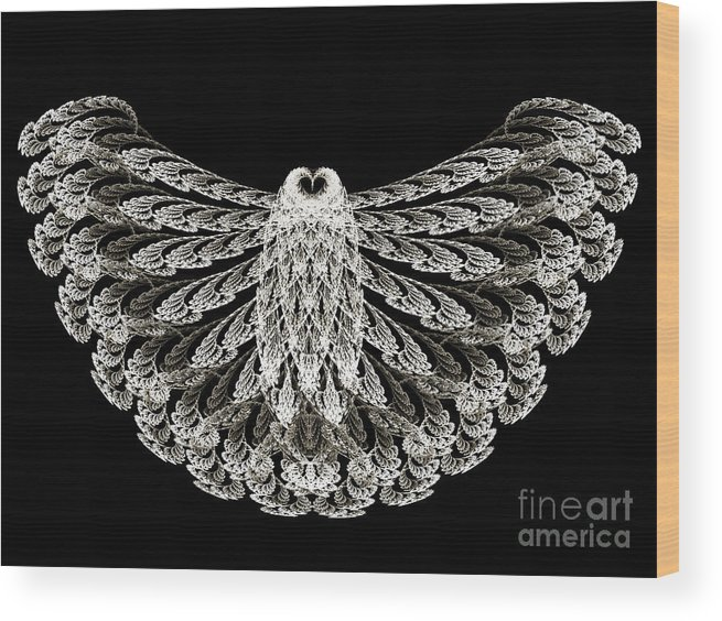 Owl Wood Print featuring the digital art A Wise Old Owl by Andee Design