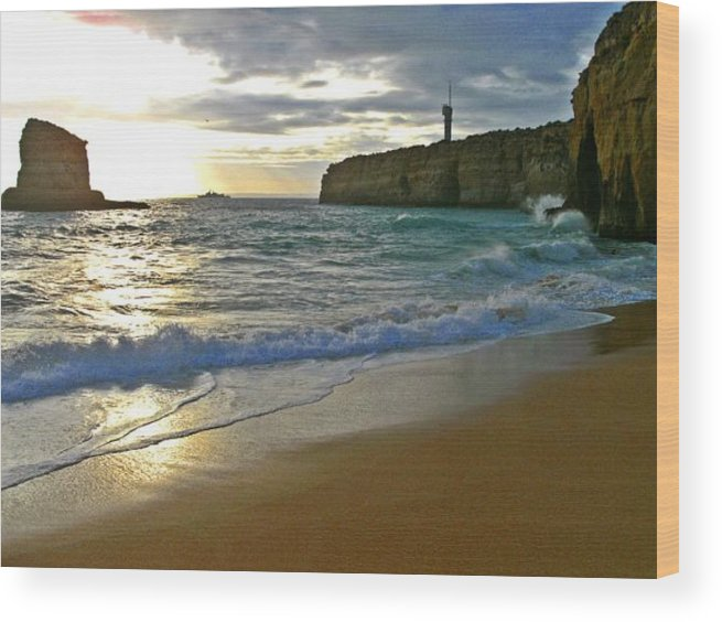 Atlantic Wood Print featuring the photograph Atlantic Ocean Meets The Portugese Coast by Ingrid Stiehler