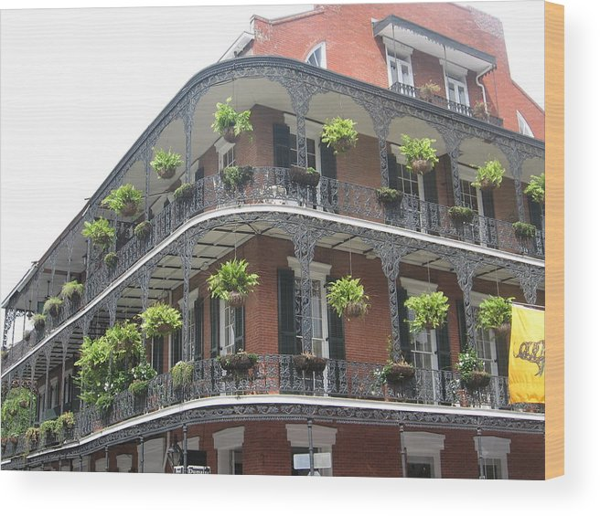 New Orleans Wood Print featuring the photograph Balcony In New Orleans by Mily Iriarte