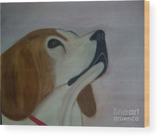 Beagle Wood Print featuring the painting Beagle by Serene Clontz