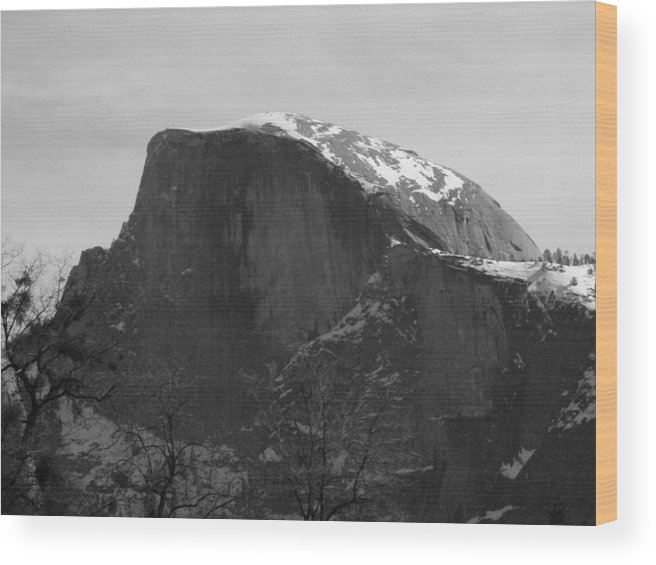 Yosemite Wood Print featuring the photograph Black And White Half Dome by April Julian