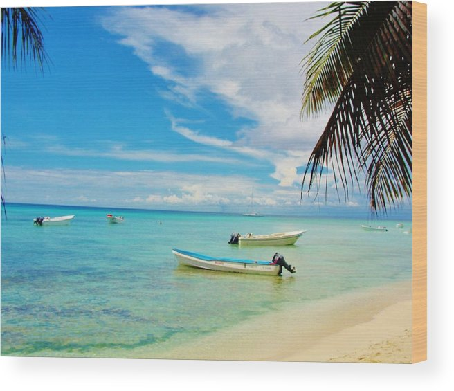 Beach Wood Print featuring the photograph Blue Dream by Marie-france Quesnel