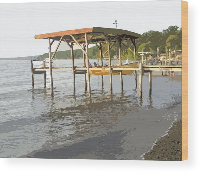 Boat Wood Print featuring the photograph Boat Dock by Adrienne Zulkoski